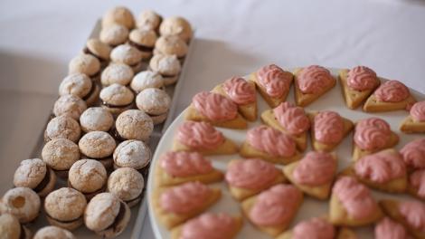 Hazelnut Daquoise and Raspberry Glazed Cookies.